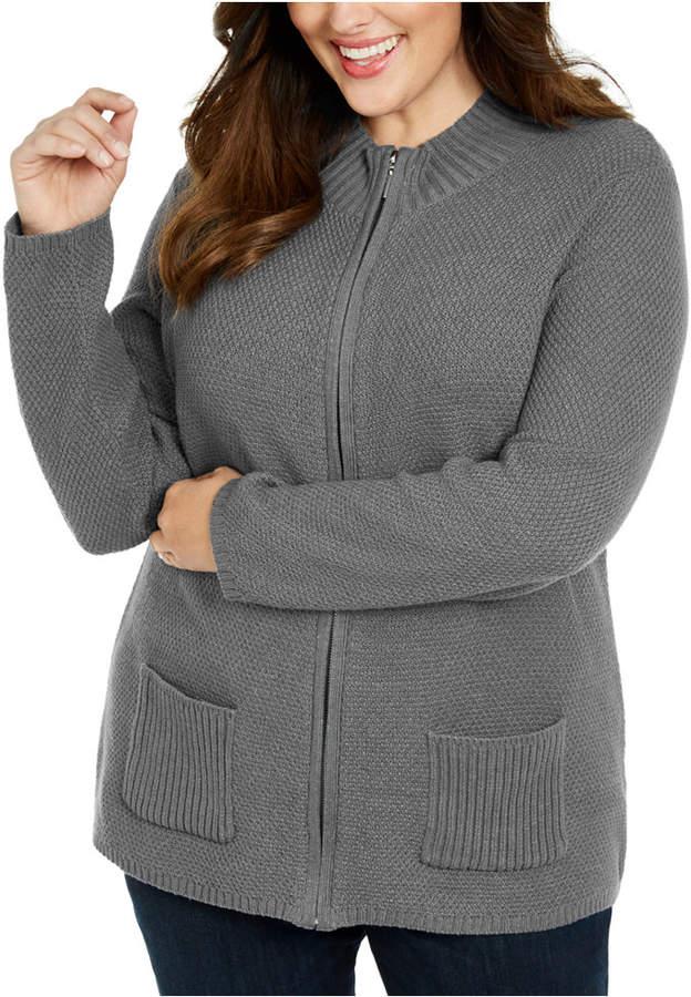 Karen Scott Plus Size Knit Zip-Up Sweater