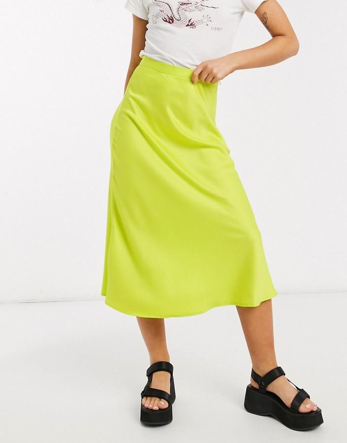 Thumbnail for your product : Monki Brisa satin midi skirt in lime green