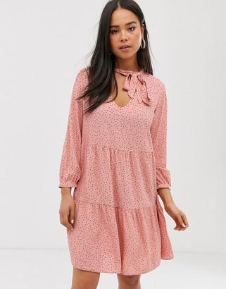 New Look smock dress in pink polka dot