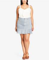City Chic Trendy Plus Size Striped Denim Mini Skirt