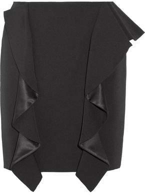 Givenchy Ruffled Silk Satin-Paneled Grain De Poudre Wool Mini Skirt