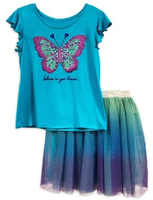 Pinky LA Girls 4-10 Flutter Sleeve Top and Tutu Skirt, 2-Piece Outfit Set