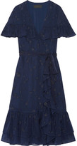Co Ruffled Wrap-effect Fil Coupé Silk-chiffon Dress - Midnight blue