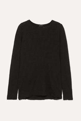 ATM Anthony Thomas Melillo Distressed Slub Cotton-jersey Top - Black