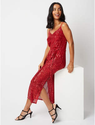 George Red Sequin Midaxi Dress