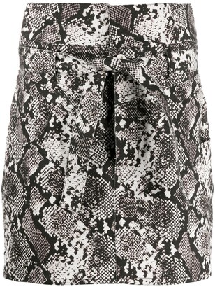 ATTICO Snakeskin Print Mini Skirt
