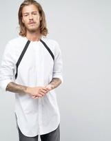 Asos Regular Fit Longline Shirt With Strap Detail Long Sleeve