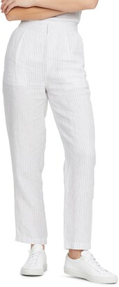 Michael Stars Flynn Pinstripe Straight Leg Linen Trousers