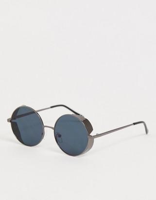 Asos Design DESIGN round sunglasses in gunmetal with side cap-Gray
