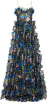 Gucci Violet print silk organza gown