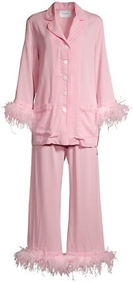 Sleeper Party Faux Feather 2-Piece Pajama Set