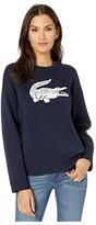 Lacoste Long Sleeve CN Jacquard Logo Cotton Sweater (Navy Blue/Flour) Women's Clothing
