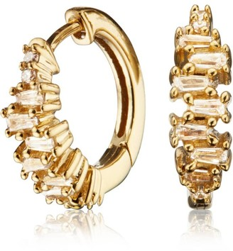 Lily & Roo Small Gold Stacked Baguette Diamond Style Huggie Hoop Earrings