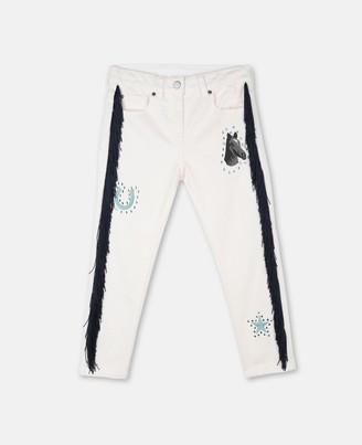 Stella Mccartney Kids Stella McCartney horses & fringes denim trousers