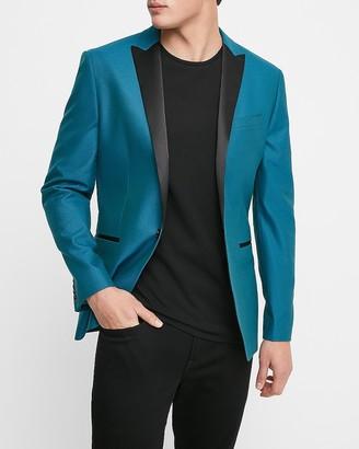Express Extra Slim Blue Cotton Tuxedo Jacket