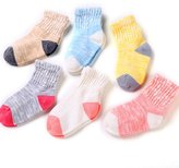 VWU Baby Girls Slip Skid Non-Skid Breathable Cotton Soft Socks 6 Pack (S)