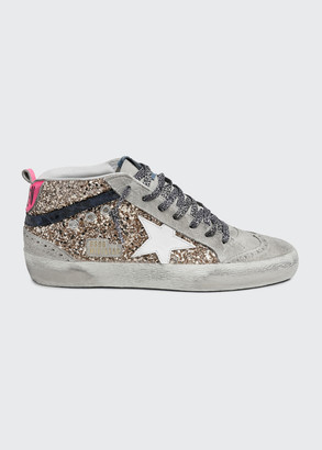 Golden Goose Mid Star Glitter Wing-Tip Sneakers