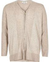River Island Girls cream knit zip cardigan