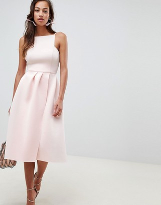 Asos Design DESIGN strappy open back prom midi dress-Pink