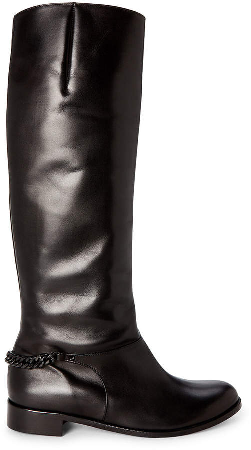 on sale 8a190 326af Black Cate Chain Leather Riding Boots
