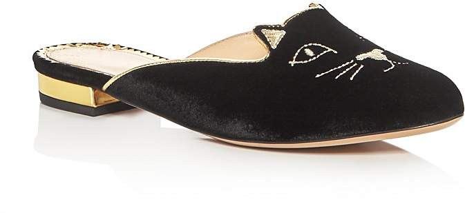 Charlotte Olympia Kitty Embroidered Velvet Mules