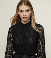 Reiss Yasi - Lace Shirt in Black, Womens