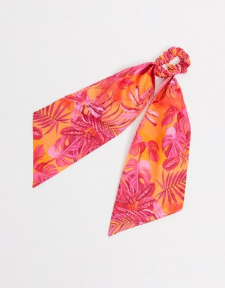 ASOS DESIGN hair scarf in hot pink floral print