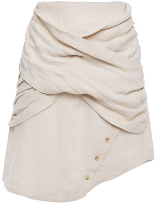 Each X Other Draped Linen Mini Skirt