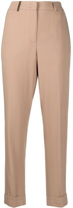 Peserico high-waisted tapered-leg trousers