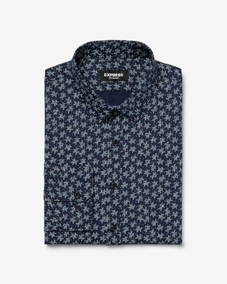 Express Extra Slim Print Wrinkle-Resistant Performance Dress Shirt
