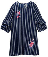Beautees Striped Embroidered Ruffle Sleeve Dress (Big Girls)