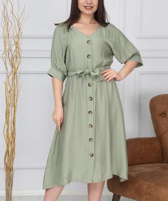 New Laviva Women's Special Occasion Dresses Khaki - Khaki Button-Front Tie-Waist Midi Dress - Women