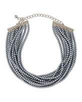Kenneth Jay Lane Multi-Strand Gray Simulated Pearl Choker Necklace