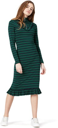 Private Label Amazon Brand - find. Women's Striped Frill Dress