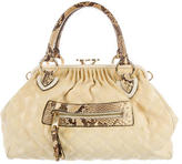 Marc Jacobs Python-Trimmed Woven Stam Bag