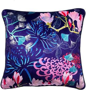 Amanda West Midnight Florals Velvet Cushion