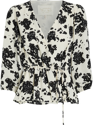 Notes Du Nord Orchid Floral Wrap Top