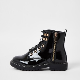 River Island Girls Black patent chunky lace up ankle boots