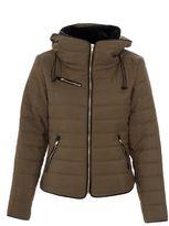 Quiz Khaki Padded Gold Zip Jacket