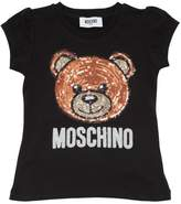 Moschino Sequined Bear Cotton Jersey T-Shirt
