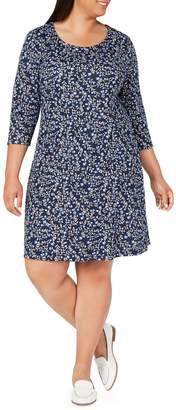 Karen Scott Plus Floral-Print Cotton Blend Swing Dress