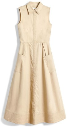 Co Sleeveless Side Pocket Dress in Taupe