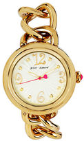 Betsey Johnson Ladies Goldtone Link and Leather Strap Watch