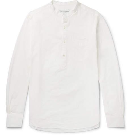 Officine Generale Olivier Grandad-Collar Cotton-Dobby Half-Placket Shirt