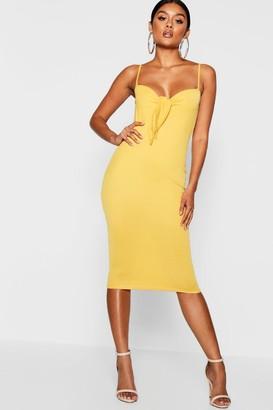 boohoo Skinny Strap Tie Front Midi Dress