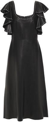 Alexander McQueen Ruffled Studded Leather Midi Dress