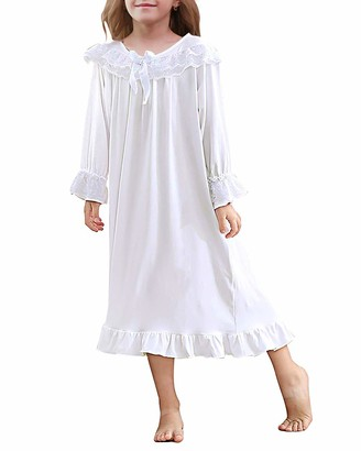 Lovekider Nighties Girls Planet Lace Flutter Sleeve Nightgown Unicorn Print Cotton Soft Pajamas with Bow Long Sleeve Nightdress Sleepwear for Toddlers Kids All Season 3-12 Years