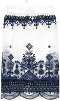 Sacai sheer overlay skirt - women - Cotton/Polyester/Cupro - 2