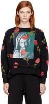 Marcelo Burlon County of Milan Black Chekkar Poncho Crewneck Sweatshirt