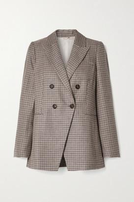 Brunello Cucinelli Houndstooth Linen, Wool And Silk-blend Blazer - Gray